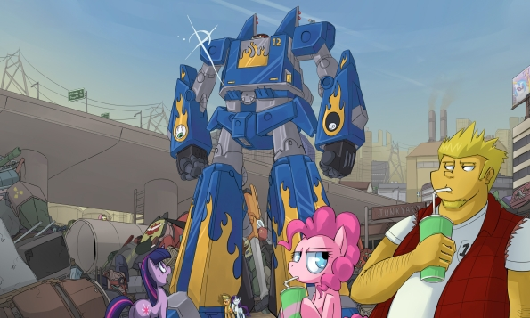 I say mecha but with a light reskin this could work for Pokemon, Barbie, Lego Friends... you know, with hugs instead of missiles.