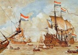 krijgsraad-voor-de-vierdaagse-zeeslag-schoolplaat-getekend-door-johan-herman-isings-naar-een-schets-van-willem-van-de-velde-de-oude